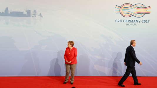 Angela Merkel et Recep Tayyip Erdogan, au sommet du G20, à Hambourg, le 7 juillet.
