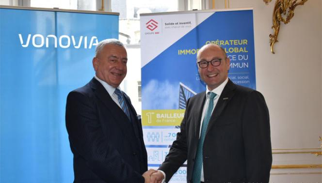 André Yché (à gauche), président du directoire de la Société nationale immobilière (SNI), et Rolf Buch, PDG de la société allemande de logement social Vonovia.