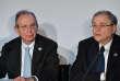 Le ministre italien des finances, Pier Carlo Padoan (à gauche), et le gouverneur de la Banque d'Italie, Ignazio Visco, à Bari (sud de l'Italie), le 13 mai.
