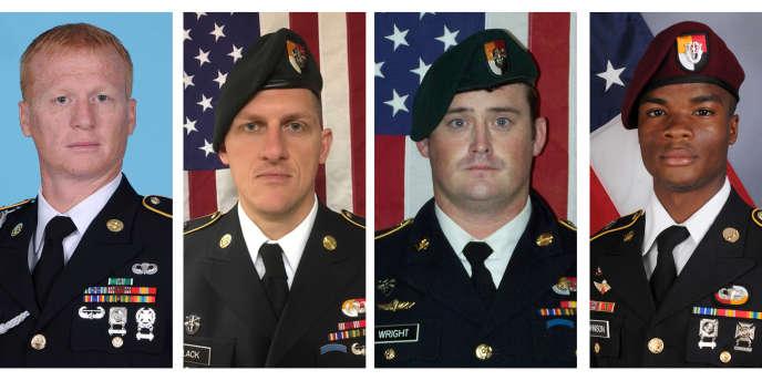 Les quatre soldats américains tués dans une embuscade au Niger, le 4octobre 2017. De gauche à droite, Jeremiah Johnson, Bryan Black, Dustin Wright et La David Johnson.