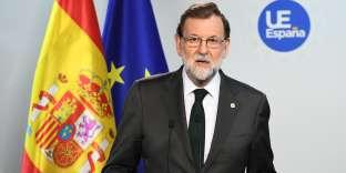 Le premier ministre espagnol Mariano Rajoy a tenu, le 20 octobre, une conférence de presse à Bruxelles.