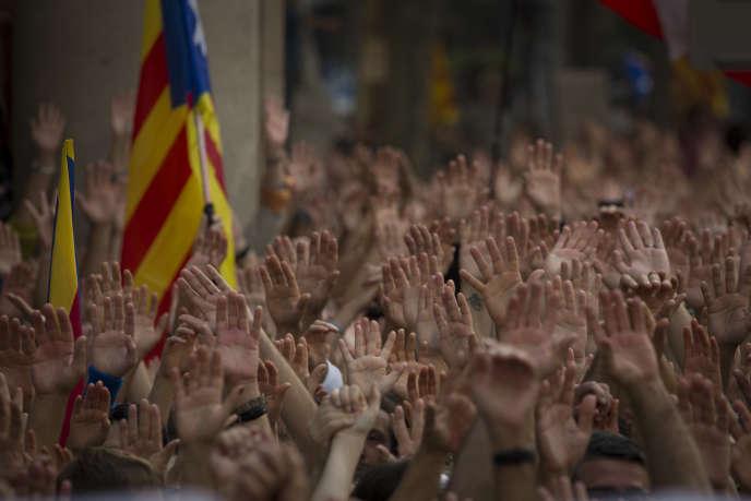 Manifestation des partisans de l'indépendance, à Barcelone, le 21 octobre.