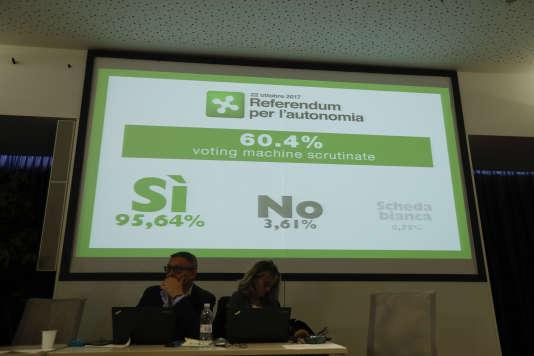 Au quartier général du camp autonomiste lombard, à Milan, le 22 octobre.
