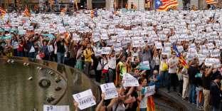 Manifestation contre l'application de l'article 155 et l'arrestation de deux leaders indépendantistes, samedi 21 octobre à Barcelone.