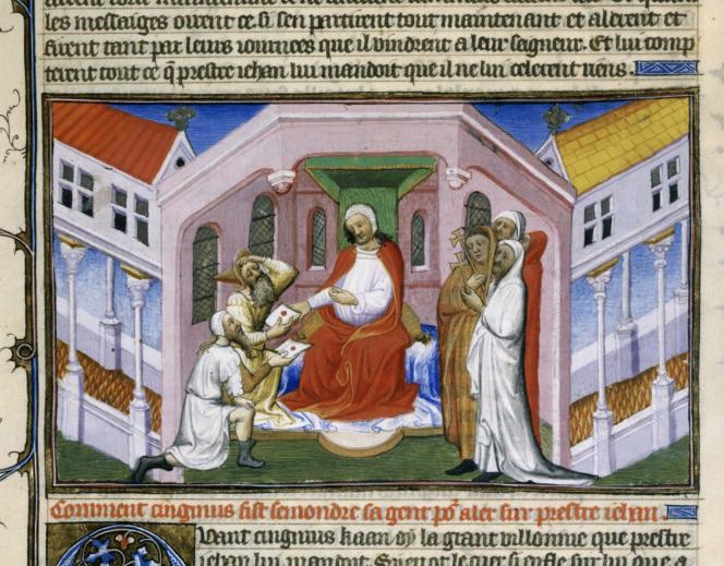 Le Prêtre Jean reçoit les messagers de Gengis Khan (récit de 1299), copié à Paris en 1410-1412.