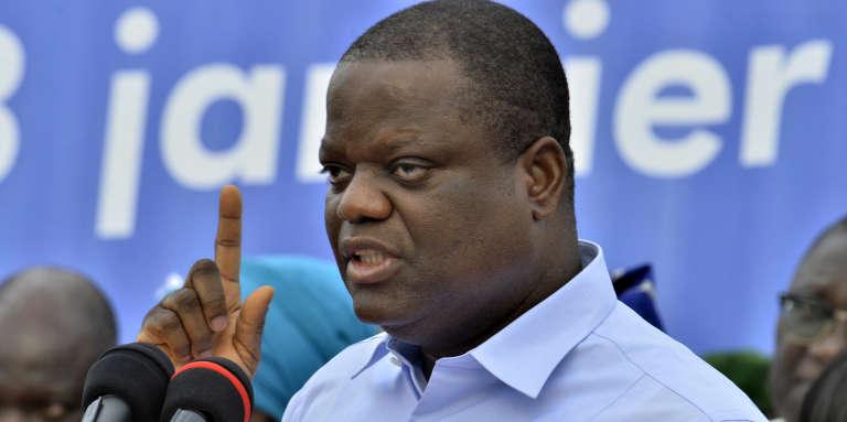 L'homme d'affaires Sébastien Ajavon, alors ancien candidat à l'élection présidentielle au Bénin, lors d'un meeting à Cotonou, le 3janvier 2016.