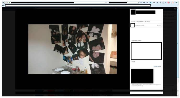 Capture d'écran sur Facebook montrant le local du salarié de la« corpo» de médecine à Caen, où sont affichées des photocopies de seins d'étudiantes.