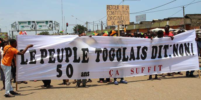 Manifestation contre le pouvoir de Faure Gnassingbé, à Lomé, au Togo, le 20 septembre 2017.