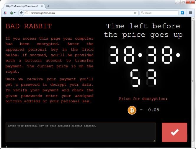 Le site réclamant la rançon affiche un compte à rebours avant que le montant de la rançon n'augmente.