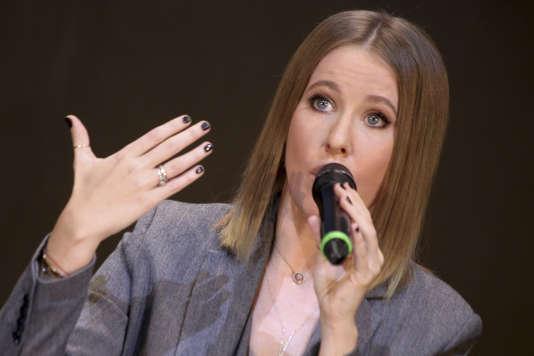 Ksenia Sobtchak, à la télévision à Moscou, mardi 24 octobre.