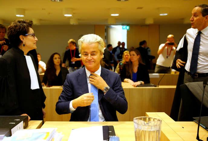 Geert Wilders, chef du Parti pour la liberté (PVV), au tribunal de Schiphol (Pays-Bas), le 24 octobre.