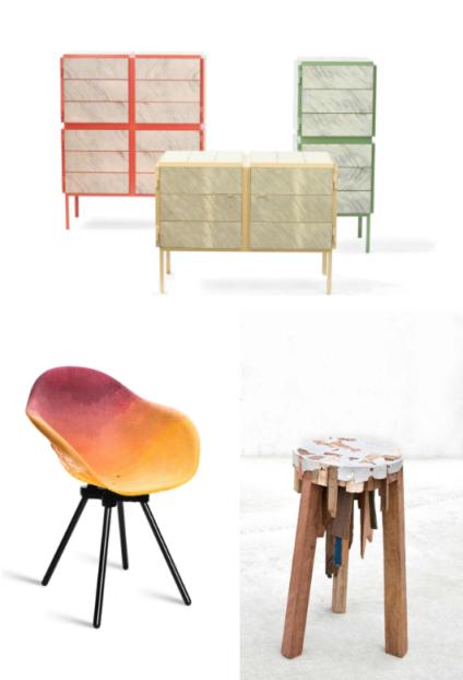 Commodes à base de papier journal, Breg Hanssen-Vij5 (2011). Chaise en plastique utilisant des résidus de couleur, collectif Maximum. Tabouret Bits of Wood en déchet de bois et étain recyclé de Pepe Heykoop (2012).