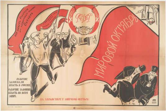Affiche de commémoration de la révolution d'Octobre.