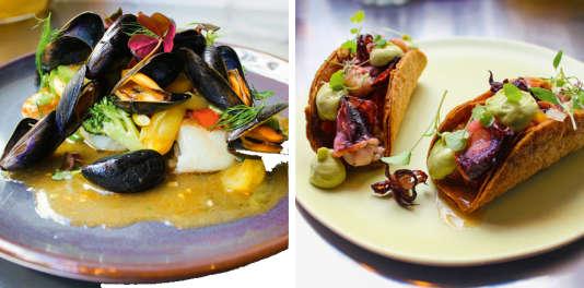 Cabillaud sauvage, moules de bouchot et légumes croquants (à g.) ; tacos au calamar, tomate et avocat.