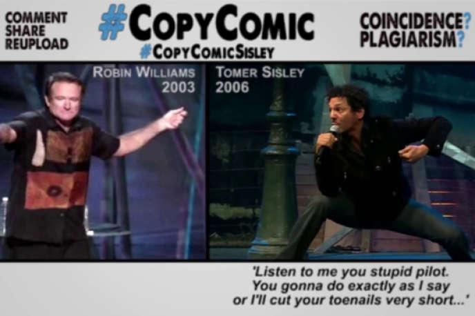 Capture d'écran d'une des vidéos la chaîne CopyComic sur YouTube, dénonçant les nombreux plagiats du comédienTomer Sisley.