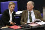Alice Weidel, left, and Alexander Gauland, parliamentary faction leaders of the Alternative for Germany, AfD, talk during the first meeting of the German parliament after the election in Berlin, Germany, Tuesday, Oct. 24, 2017. (AP Photo/Ferdinand Ostrop)