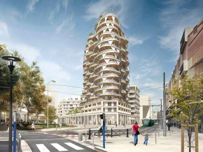 Dans ce futur édifice de seize niveaux tous en décalés, en courbes et en transparences, les prix de vente promettent d'être élevés (« Higher Roch », futur édifice de 16 niveaux tous en décalés, en courbes et en transparences, dans la ZAC du « Nouveau Saint-Roch »).