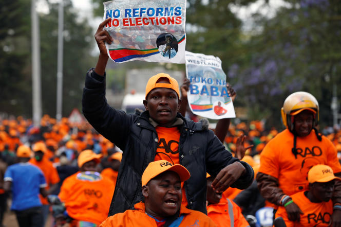 Manifestation des partisans de l'opposition, le 25 octobre, à Nairobi.