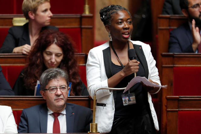 Danièle Obono, députée de la France insoumise, prend la parole, le 24 octobre, à l'Assemblée nationale.