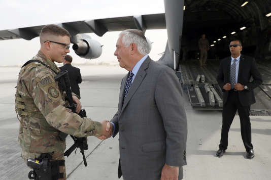 Le secrétaire d'Etat américain, Rex Tillerson, le 23 octobre sur la base de Bagram.