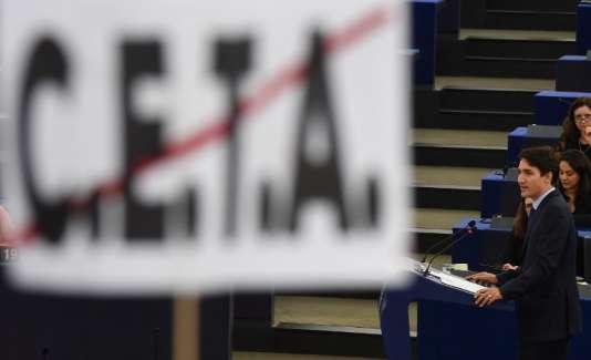 Le premier ministre canadien, Justin Trudeau, au Parlement européen, à Strasbourg, en février 2017.
