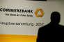 Le logo de Commerzbank lors de l'assemblée annuelle des actionnaires à Francfort, le 3 mai 2017.