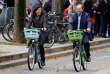 Paris Mayor Anne Hidalgo (L) and President of Greater Paris Metropolis Patrick Ollier (R) present the new Velib' Metropole self-service public bicycles by the Smovengo consortium during a media presentation in Paris, France, October 25, 2017. REUTERS/Charles Platiau