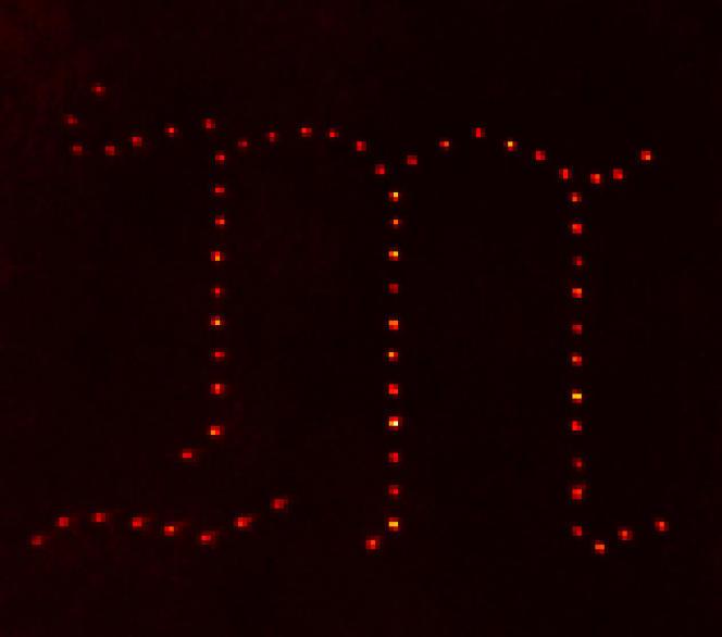 « M» gothique constitué d'atomes uniques.
