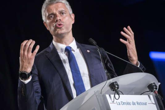 Laurent Wauquiez, à son premier meeting de campagne pour la présidence du parti Les Républicains à Mandelieu-La Napoule (Alpes-Maritimes), le 25 octobre 2017.