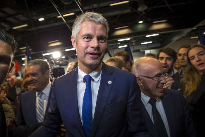 Laurent Wauquiez lors de son premier meeting de campagne pour la présidence du parti Les Républicains à Mandelieu-La Napoule, mercredi 25 octobre 2017.