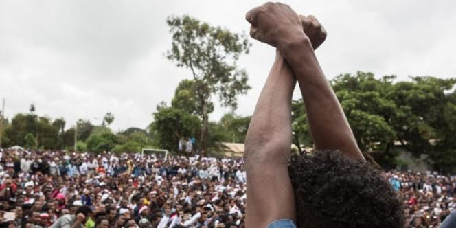 Manifestation lors du festival Oromo, le 1ᵉʳ octobre 2017, à Bishoftu, en Ethiopie.