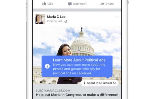 Le dispositif mis en place par Facebook pour rendre plus transparentes l'origine des publicités sur le réseau social.