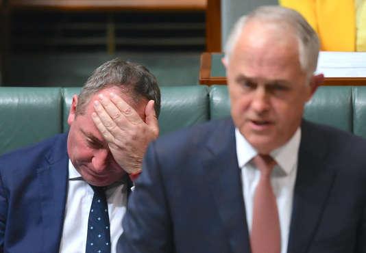 Barnaby Joyce, pendant un discours du premier ministre Malcolm Turnbull, le 24 octobre à la Chambre des représentants, à Canberra.