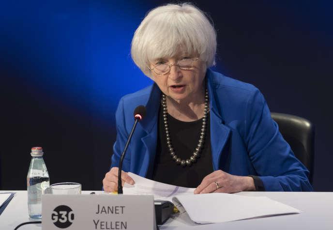 La présidente de la Réserve fédérale américaine (Fed), Janet Yellen, lors d'un séminaire à Washington, le 15 octobre.