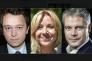 Les trois candidats (de g. à dr.) : Maël de Calan, Florence Portelli et Laurent Wauquiez.