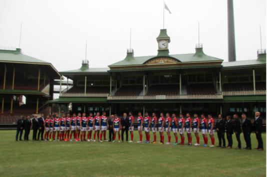 Le XIII de France lors de la présentation de la Coupe du monde 2017 au Sydney Cricket Ground, une enceinte mythique dans le monde du XIII.