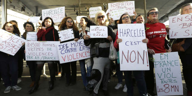 "Demonstrators hold placards reading ""Harassed it is no"", ""In France, a rape every 8 minutes"", ""21500 women victims of violence in France a year"", ""Ways against the violence"", ""Together let us break the silence"", during a demonstration in Marseille, southern France, Sunday, Oct. 29, 2017. French women are protesting sexual abuse and harassment in 11 cities across the country under the #MeToo banner in the wake of mounting allegations against Hollywood mogul Harvey Weinstein. (AP Photo/Claude Paris)"