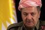 Massoud Barzani lors d'une conférence de presse, la veille du référendum sur l'indépendance, à Erbil au Kurdistan irakien, le 25 septembre.