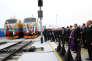 Inauguration de la ligne ferroviaire Bakou-Tbilissi-Kars, à Bakou, le 30 octobre.