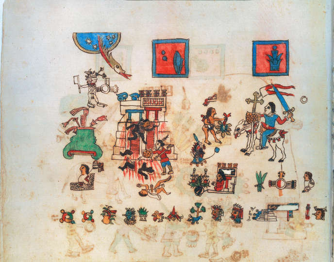 Miniature extraite du « Codex Vaticanus » (vers 1570-1589). A droite, sur son cheval, Hernan Cortés.