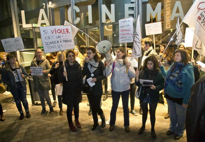Manifestation contre la venue de Roman Polanski à la Cinémathèque française, le 30octobre 2017.