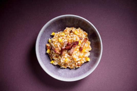 Riz rond, courge butternut, oignon, lard paysan… Le risotto spécial de Laurent Mariotte.
