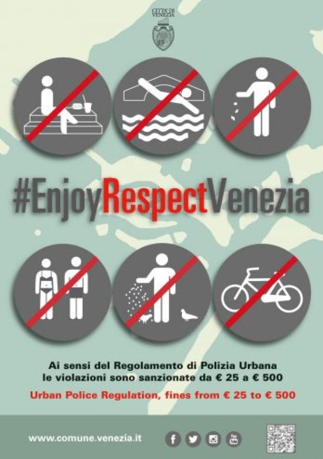 Une campagne d'affichage pour inciter les touristes à plus de respect, à Venise.