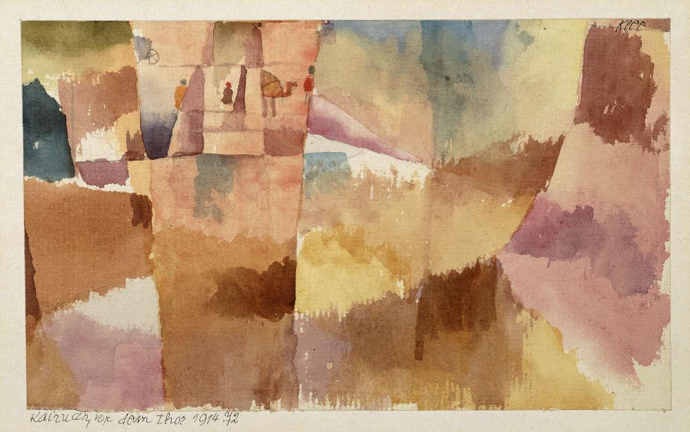 """«Au début de l'année 1914, Paul Klee se rendit pour deux semaines en Tunisie en compagnie de ses collègues peintres Louis Moilliet et August Macke. Les trois artistes plongèrent dans une terre de mystères et de merveilles. Sous l'impression des paysages éclatants, de la culture arabe et de l'architecture orientale, Klee découvrit à Kairouan l'intensité de la lumière et de la couleur. """"La couleur me possède. Point n'est besoin de chercher à la saisir. Elle me possède pour toujours, je le sais. Voilà le sens de ce moment heureux: la couleur et moi sommes un. Je suis peintre"""".»"""