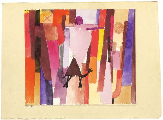 «Avec le triangle brun» (1915), de Paul Klee, aquarelle sur papier/carton.