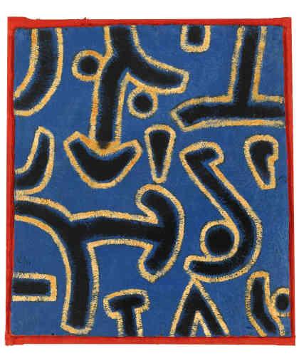 «L'image est dominée par des signes et des fragments tracés à larges traits, qui planent sur un fond bleu comme s'ils luttaient pour occuper le peu d'espace disponible. Ils forment des flèches, un visage, voire des symboles phalliques. Ils sont cernés d'un trait jaune qui en accentue l'impact, tandis que le cadre rouge vient donner encore plus de force à l'ensemble.»