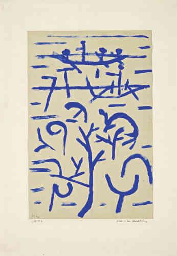 «Avec quelques coups de pinceau et une unique couleur, Paul Klee donne à voir l'inondation. Il met en mouvement l'eau et les embarcations, et montre au premier plan des arbres émergeant des flots, produisant de puissants remous. La surface de l'eau est suggérée par des lignes bleues, tout comme les barques et rameurs.»