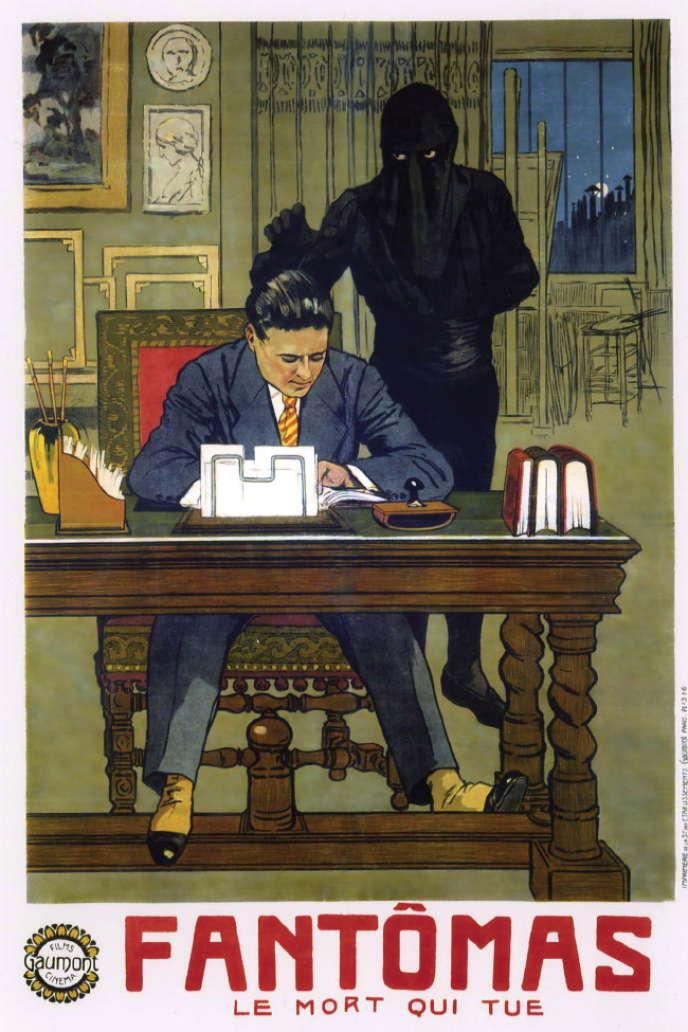 L'affiche du film« Fantômas. Le mort qui tue», deLouis Feuillade (1913).