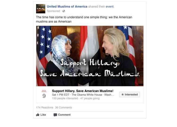 Cette page,« Musulmans unis d'Amérique», qui ne correspondait à aucune association existant réellement, appelle à soutenir Hillary Clinton pour«sauver les musulmans américains».
