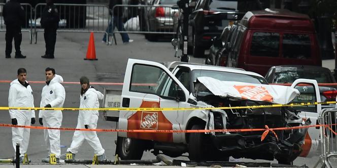 La camionnette de Sayfullo Saipov, après l'attentatcommis à New York.